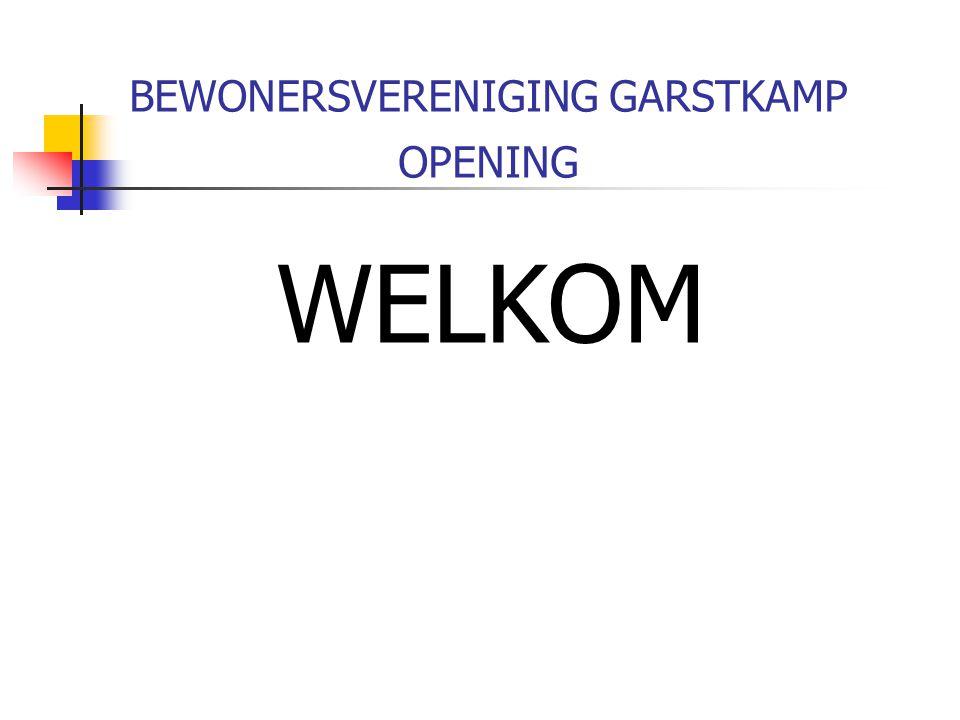 BEWONERSVERENIGING GARSTKAMP OPENING WELKOM