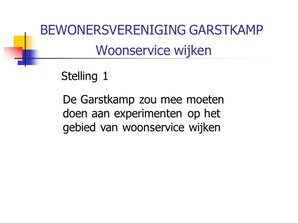 BEWONERSVERENIGING GARSTKAMP Woonservice wijken Stelling 1 De Garstkamp zou mee moeten doen aan experimenten op het gebied van woonservice wijken