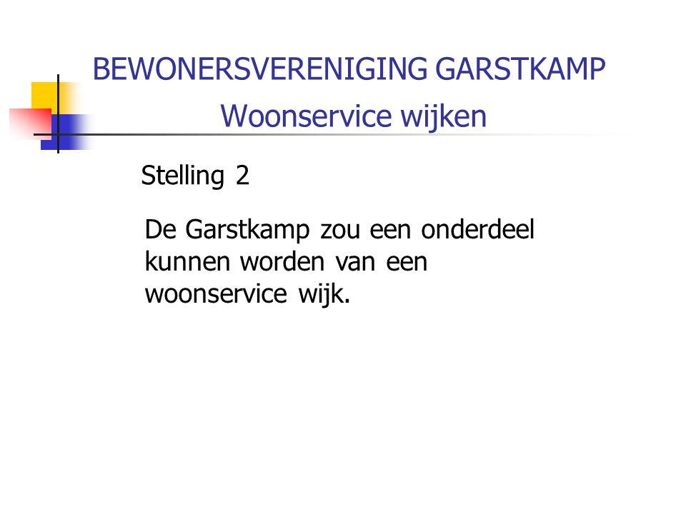 BEWONERSVERENIGING GARSTKAMP Woonservice wijken Stelling 2 De Garstkamp zou een onderdeel kunnen worden van een woonservice wijk.