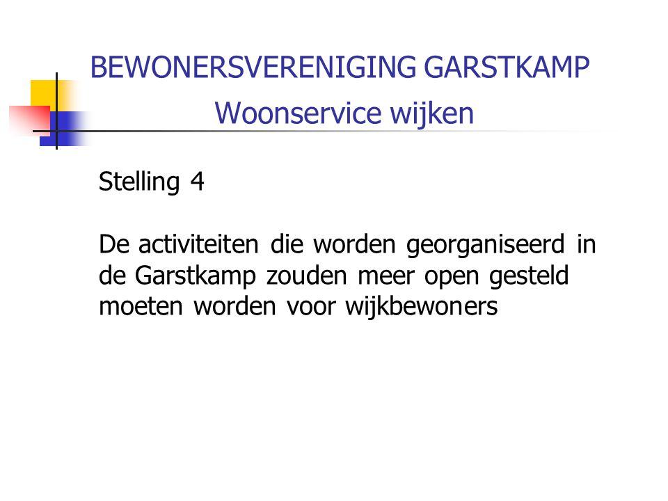 BEWONERSVERENIGING GARSTKAMP Woonservice wijken Stelling 4 De activiteiten die worden georganiseerd in de Garstkamp zouden meer open gesteld moeten worden voor wijkbewoners