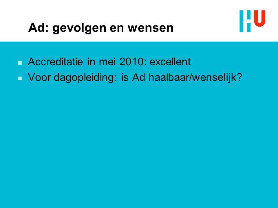 Ad: gevolgen en wensen n Accreditatie in mei 2010: excellent n Voor dagopleiding: is Ad haalbaar/wenselijk?