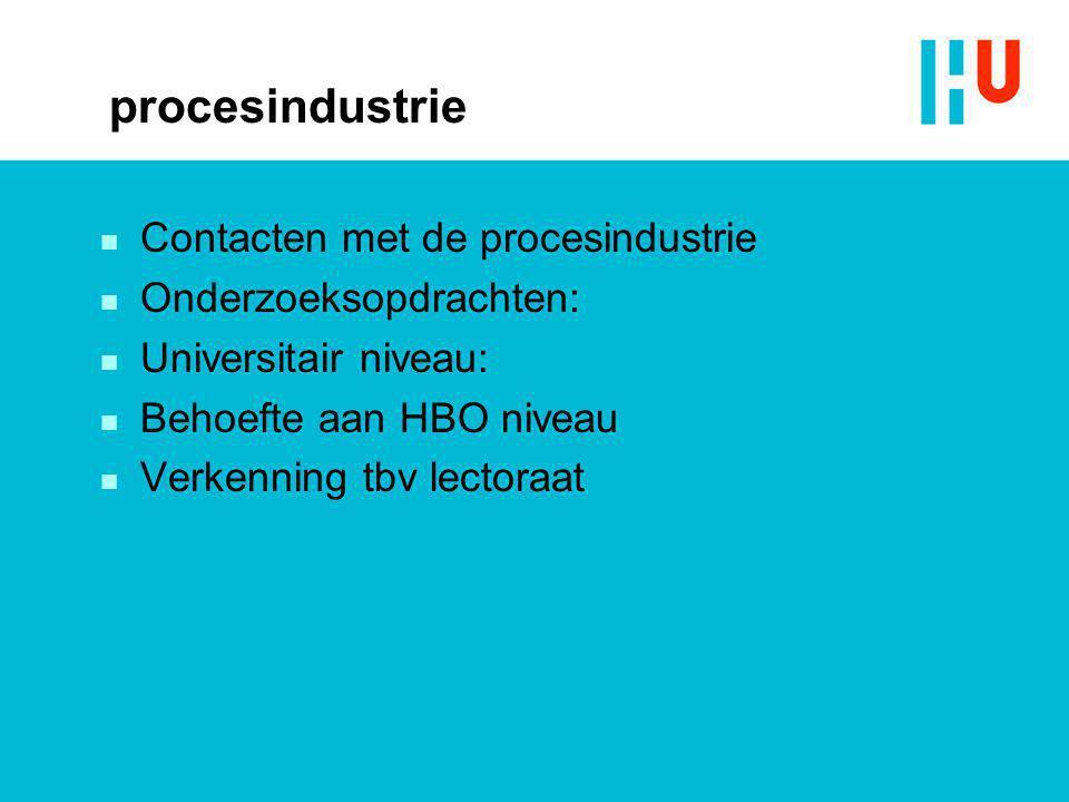 procesindustrie n Contacten met de procesindustrie n Onderzoeksopdrachten: n Universitair niveau: n Behoefte aan HBO niveau n Verkenning tbv lectoraat