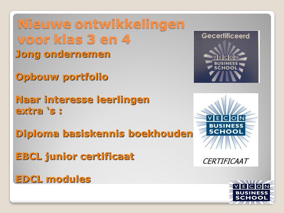 Nieuwe ontwikkelingen voor klas 3 en 4 25 Jong ondernemen Opbouw portfolio Naar interesse leerlingen extra 's : Diploma basiskennis boekhouden EBCL ju