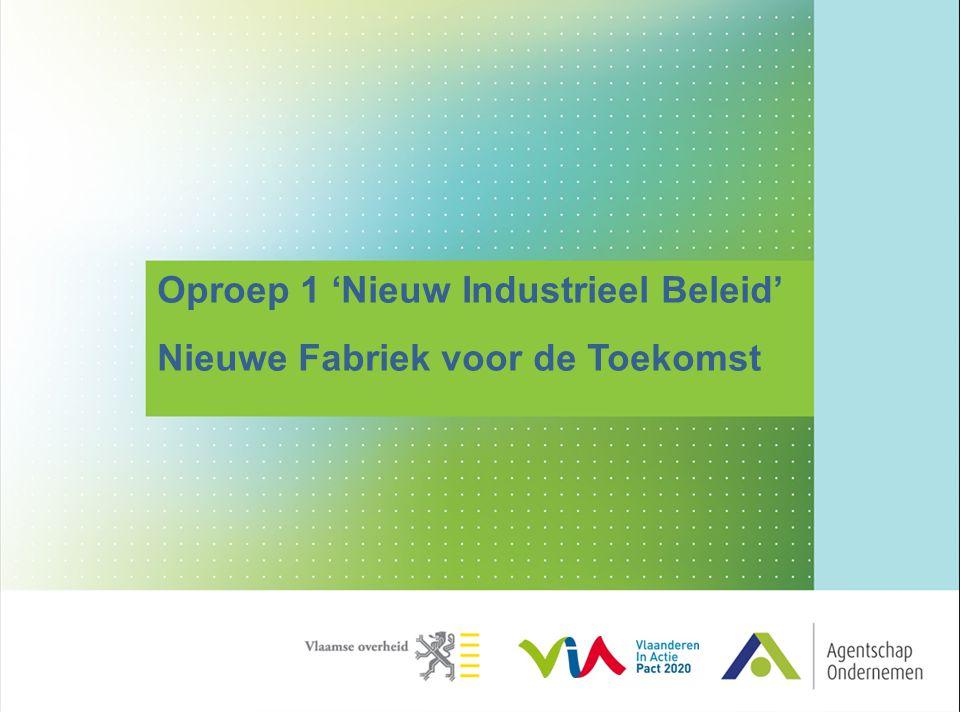 Witboek nieuw industrieel beleid  Overkoepelende visie op de toekomst van de industrie in Vlaanderen  Doel van het NIB  Industrie van de toekomst in Vlaanderen vorm geven  Transformatie in het licht van 'smart, sustainable, inclusive growth' 2