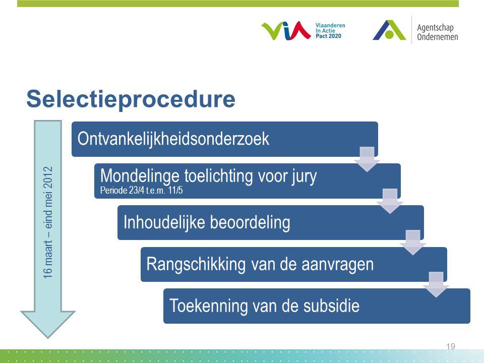 Selectieprocedure Ontvankelijkheidsonderzoek Mondelinge toelichting voor jury Periode 23/4 t.e.m. 11/5 Inhoudelijke beoordelingRangschikking van de aa