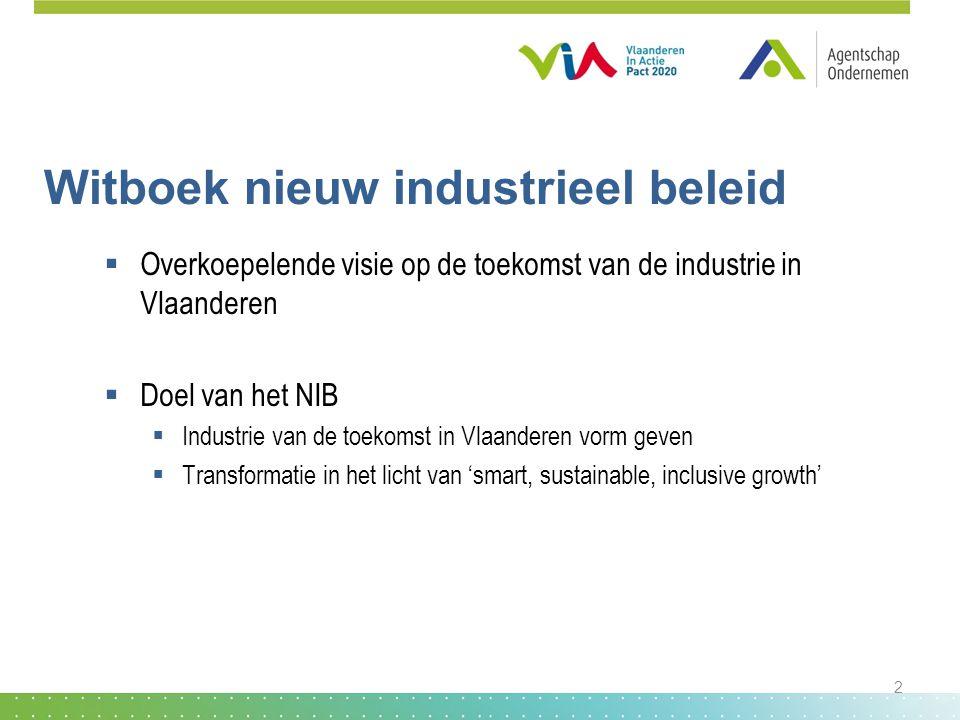 Witboek nieuw industrieel beleid  Overkoepelende visie op de toekomst van de industrie in Vlaanderen  Doel van het NIB  Industrie van de toekomst i