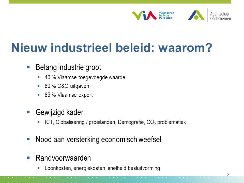 Nieuw industrieel beleid: waarom?  Belang industrie groot  40 % Vlaamse toegevoegde waarde  80 % O&O uitgaven  85 % Vlaamse export  Gewijzigd kad