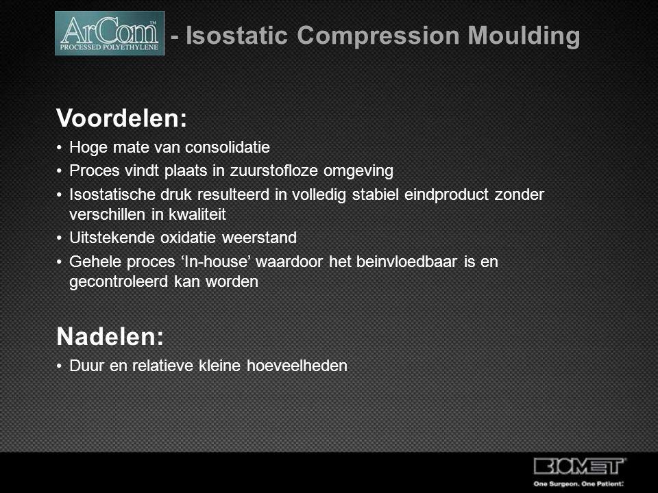 ArCom - Isostatic Compression Moulding Voordelen: Hoge mate van consolidatie Proces vindt plaats in zuurstofloze omgeving Isostatische druk resulteerd