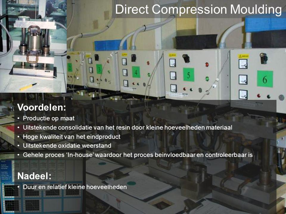 Voordelen: Productie op maat Uitstekende consolidatie van het resin door kleine hoeveelheden materiaal Hoge kwaliteit van het eindproduct Uitstekende