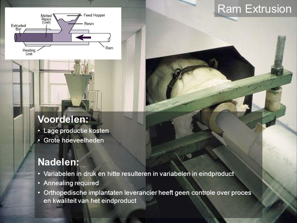 Ram Extrusion Voordelen: Lage productie kosten Grote hoeveelheden Nadelen: Variabelen in druk en hitte resulteren in variabelen in eindproduct Anneali