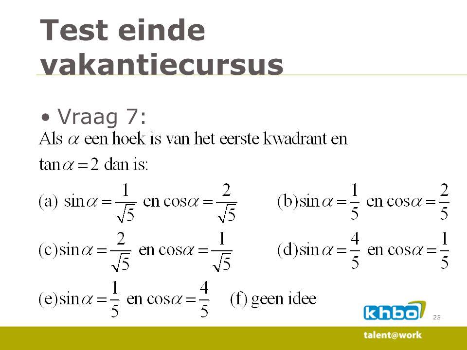 Vraag 7: 25 Test einde vakantiecursus