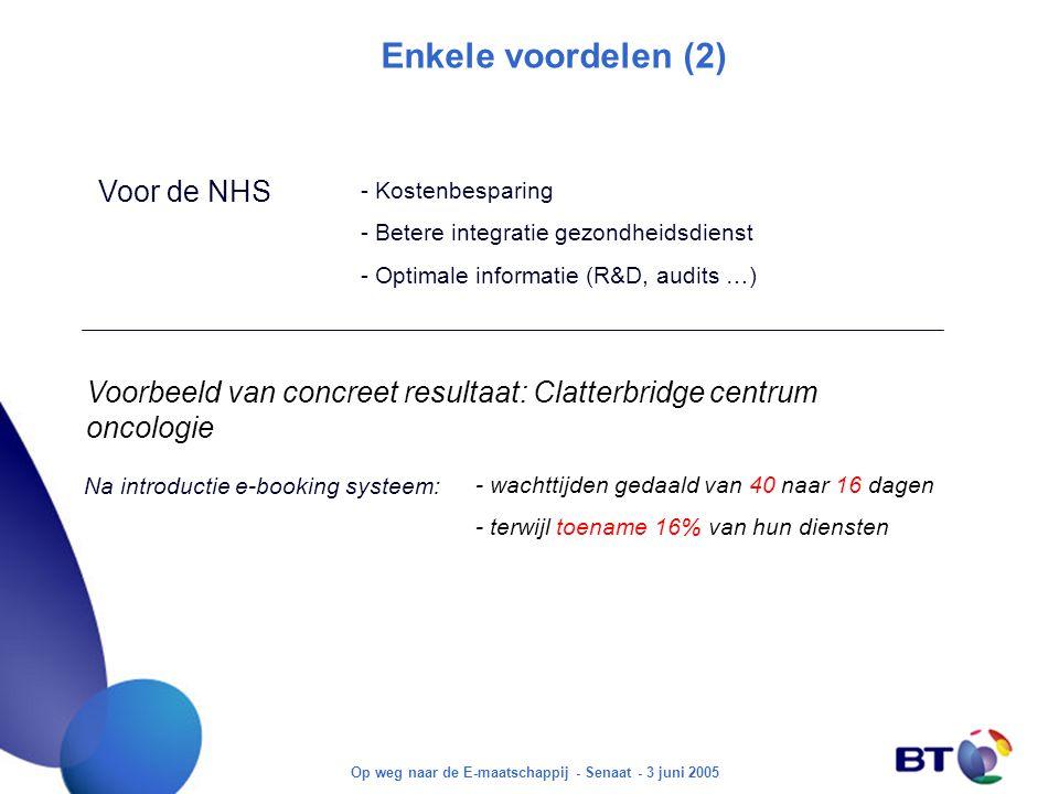 Op weg naar de E-maatschappij - Senaat - 3 juni 2005 Enkele voordelen (2) Voor de NHS - Kostenbesparing - Betere integratie gezondheidsdienst - Optimale informatie (R&D, audits …) Voorbeeld van concreet resultaat: Clatterbridge centrum oncologie - wachttijden gedaald van 40 naar 16 dagen - terwijl toename 16% van hun diensten Na introductie e-booking systeem: