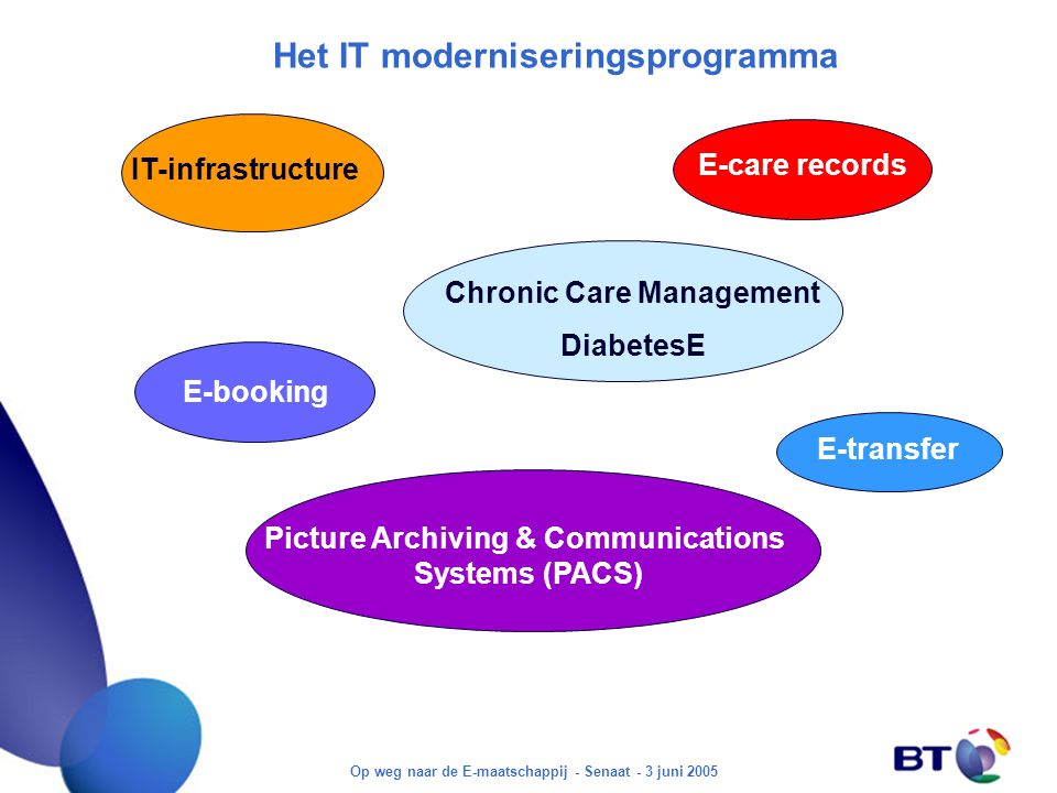 Op weg naar de E-maatschappij - Senaat - 3 juni 2005 Het IT moderniseringsprogramma E-care records Chronic Care Management DiabetesE Picture Archiving & Communications Systems (PACS) E-transfer E-booking IT-infrastructure
