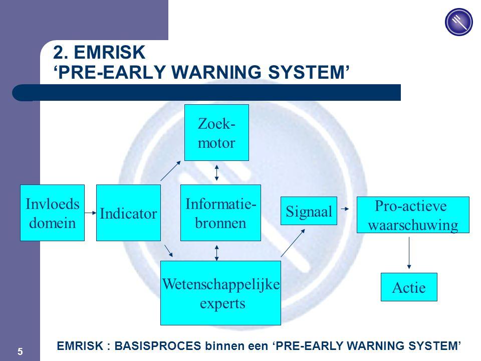 JPM 5 2. EMRISK 'PRE-EARLY WARNING SYSTEM' Invloeds domein Wetenschappelijke experts Signaal Indicator Zoek- motor Informatie- bronnen Pro-actieve waa