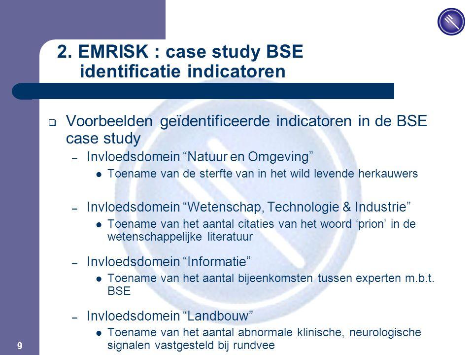 JPM 10 2. EMRISK : case-study BSE identificatie indicatoren 9 invloedsdomeinen 50 indicatoren