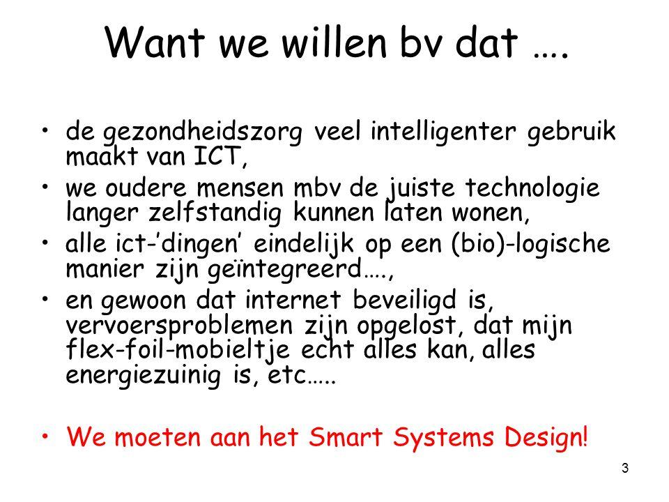 2 Ontwerpen en ontwikkelen van technologie voor : –Plezier, thuis, communicatie –Hulp bij gezondheid, saai werk –Zien, opzoeken, horen, ruiken,voelen ICT .