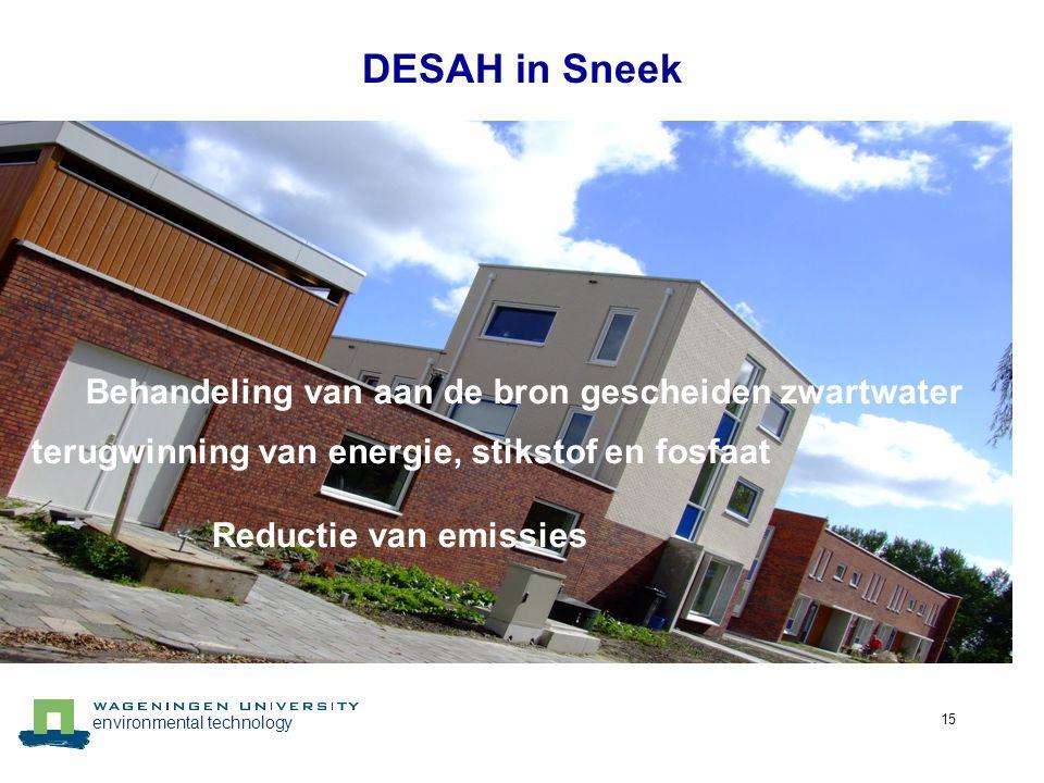 environmental technology 15 DESAH in Sneek Behandeling van aan de bron gescheiden zwartwater terugwinning van energie, stikstof en fosfaat Reductie va