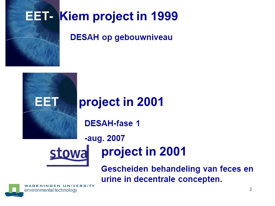 environmental technology 2 EET- Kiem project in 1999 DESAH op gebouwniveau EET project in 2001 DESAH-fase 1 -aug. 2007 project in 2001 Gescheiden beha