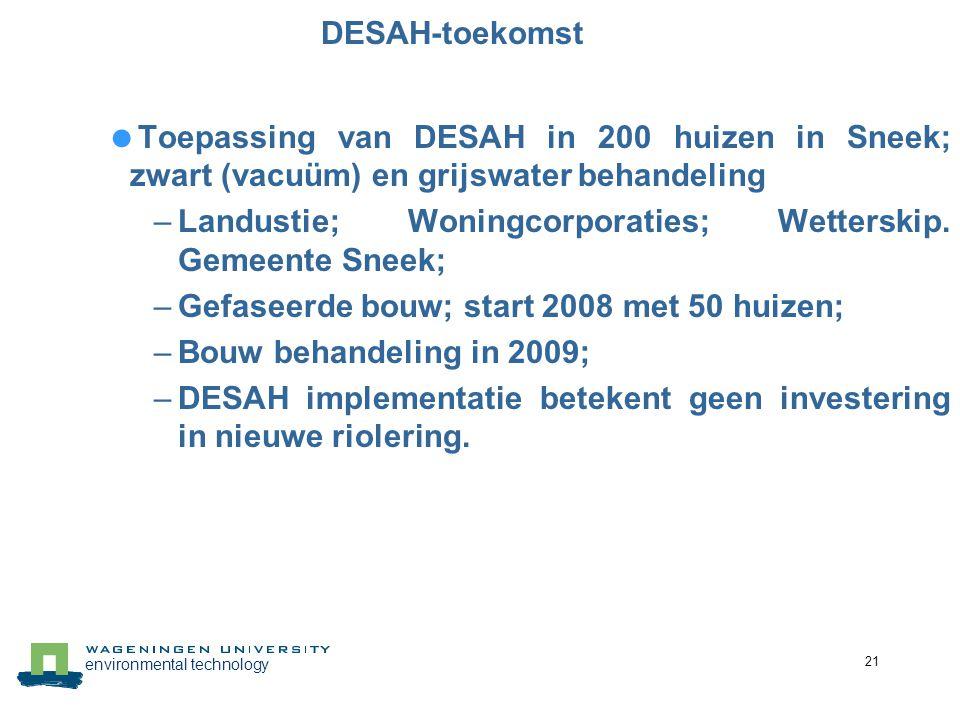 environmental technology 21 DESAH-toekomst  Toepassing van DESAH in 200 huizen in Sneek; zwart (vacuüm) en grijswater behandeling –Landustie; Woningc