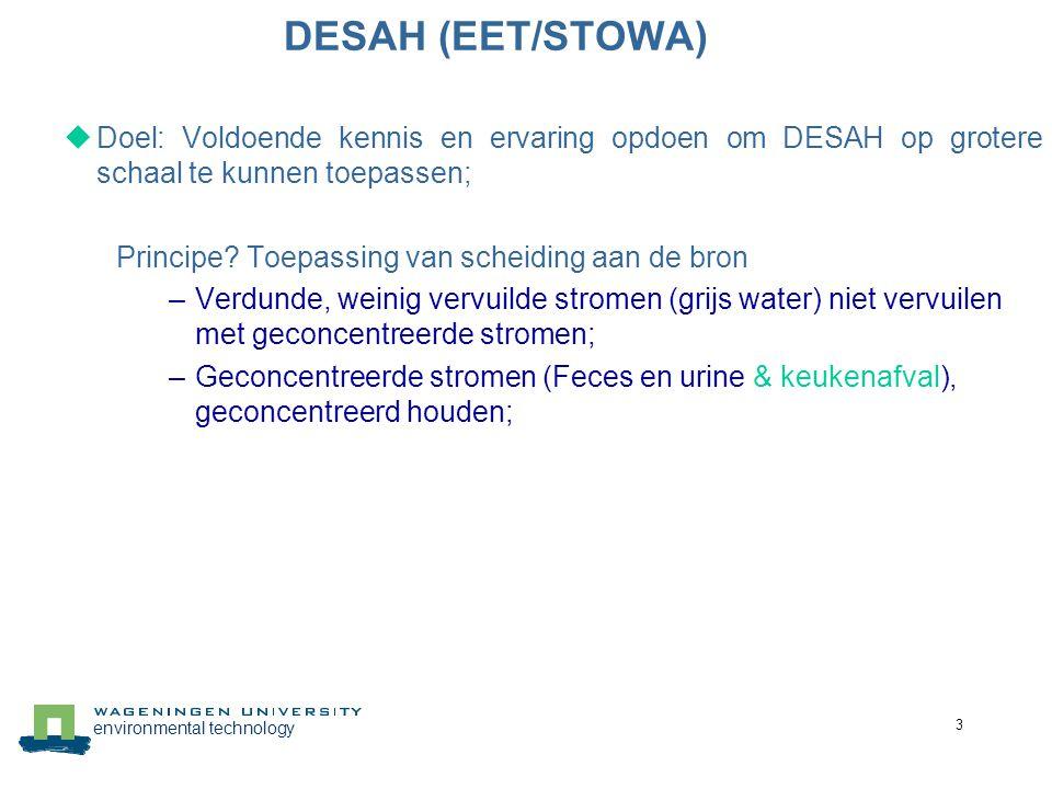 environmental technology 4 DESAH (EET/STOWA)  Doel: Voldoende kennis en ervaring opdoen om DESAH op grotere schaal te kunnen toepassen; Waarom.