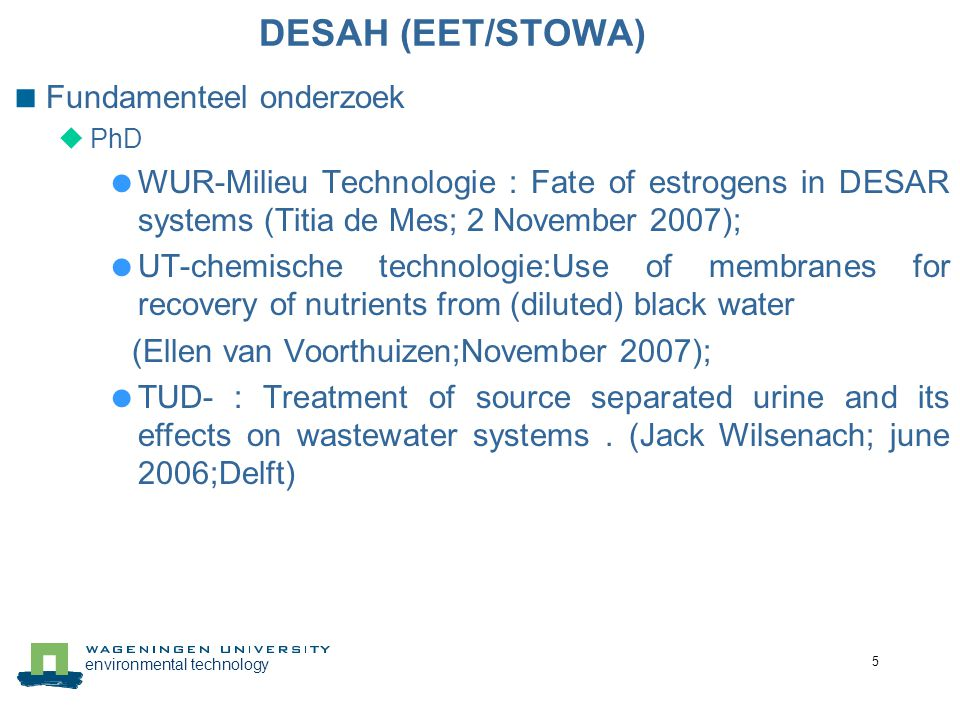 environmental technology 16 Zwartwater karakteristieken 1) (Vinnerås, 2002);(Wijst and Groot-Marcus, 1998); (Hellström and Kärrman, 1996; Jönsson et al., 1997), 2) filtered with a course filter for preventing clogging at lab-scale 3) excluding toilet paper.