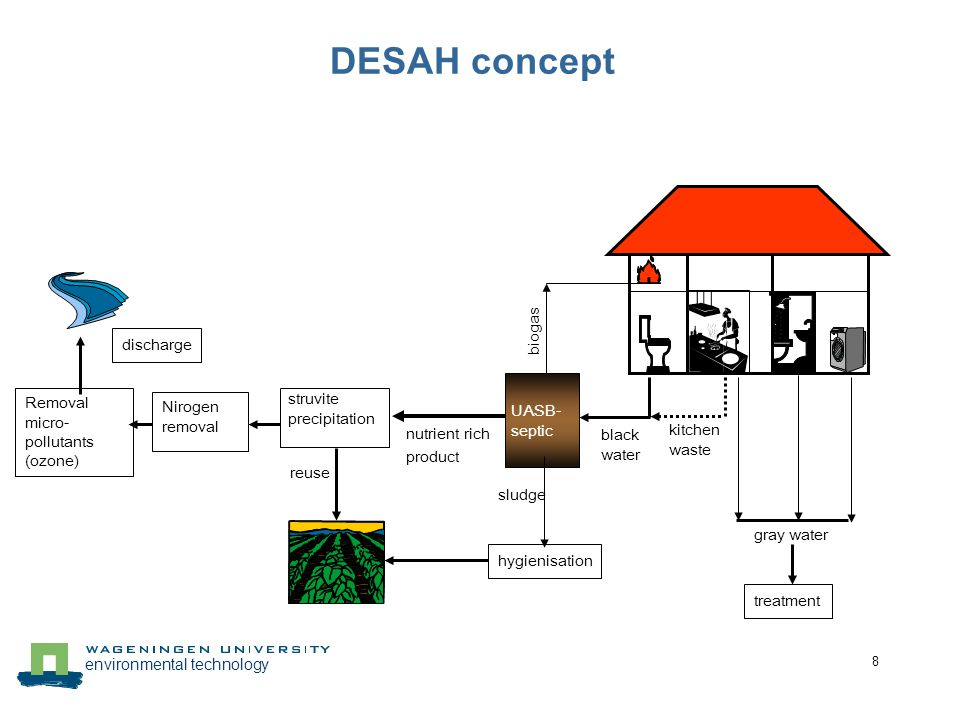 environmental technology 8 DESAH concept struvite precipitation reuse discharge black water kitchen waste gray water UASB- septic biogas nutrient rich