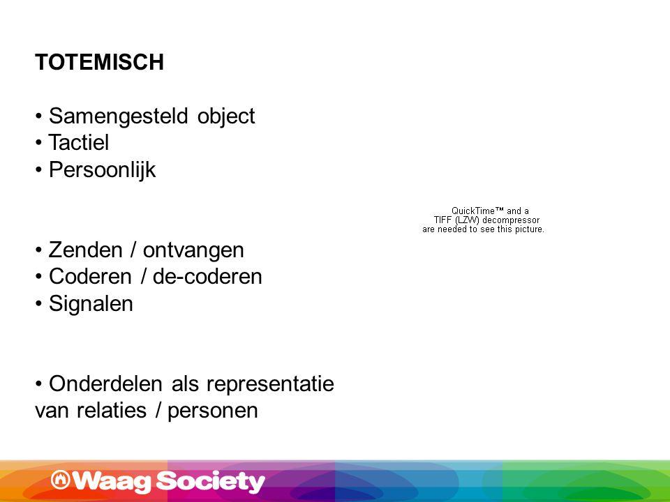 TOTEMISCH Samengesteld object Tactiel Persoonlijk Zenden / ontvangen Coderen / de-coderen Signalen Onderdelen als representatie van relaties / personen