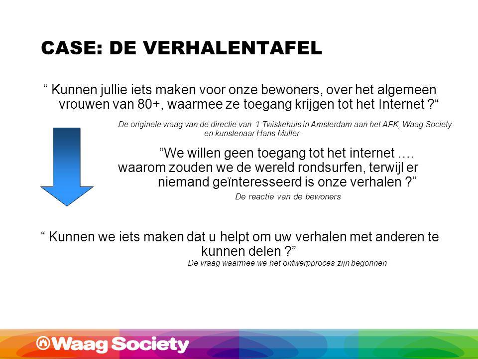 Kunnen jullie iets maken voor onze bewoners, over het algemeen vrouwen van 80+, waarmee ze toegang krijgen tot het Internet ? De originele vraag van de directie van 't Twiskehuis in Amsterdam aan het AFK, Waag Society en kunstenaar Hans Muller We willen geen toegang tot het internet ….