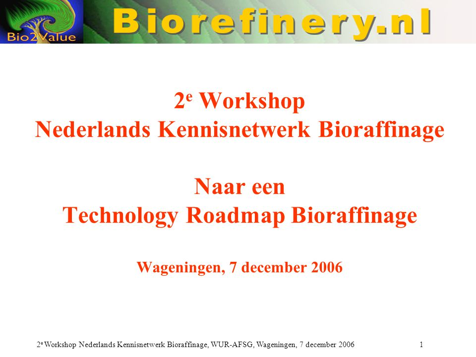 2 e Workshop Nederlands Kennisnetwerk Bioraffinage, WUR-AFSG, Wageningen, 7 december 2006 52 Werksessie 2.