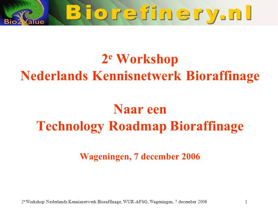 2 e Workshop Nederlands Kennisnetwerk Bioraffinage, WUR-AFSG, Wageningen, 7 december 2006 1 2 e Workshop Nederlands Kennisnetwerk Bioraffinage Naar een Technology Roadmap Bioraffinage Wageningen, 7 december 2006