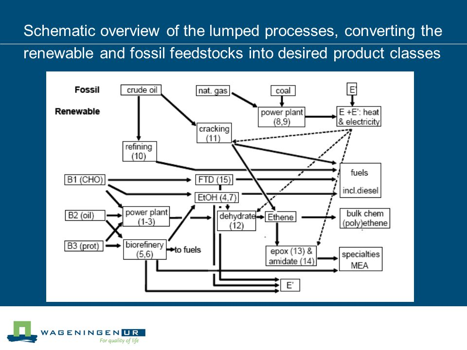 Schematic overview of the lumped processes, converting the renewable and fossil feedstocks into desired product classes