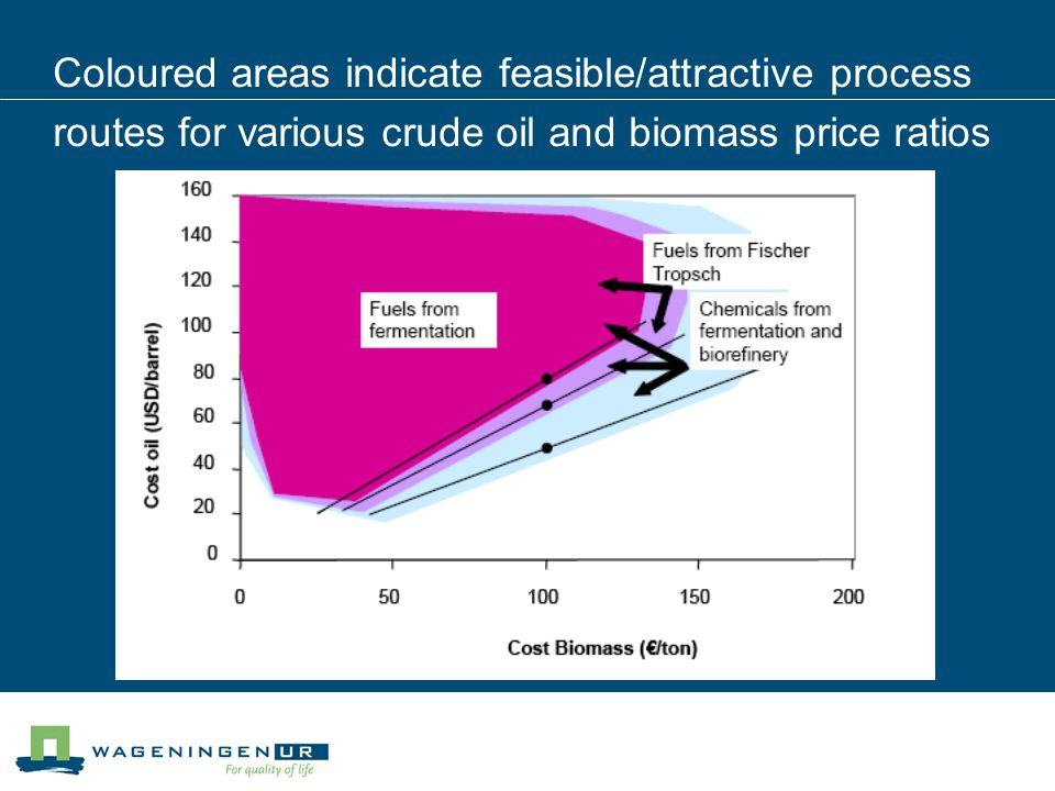 Coloured areas indicate feasible/attractive process routes for various crude oil and biomass price ratios