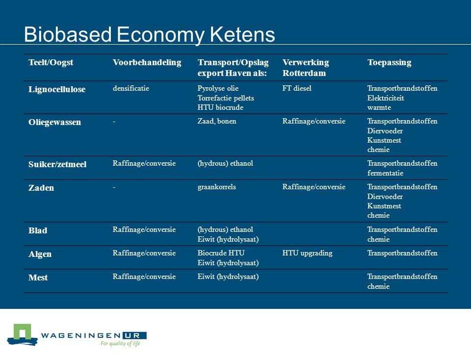 Biobased Economy Ketens Teelt/OogstVoorbehandelingTransport/Opslag export Haven als: Verwerking Rotterdam Toepassing Lignocellulose densificatiePyroly