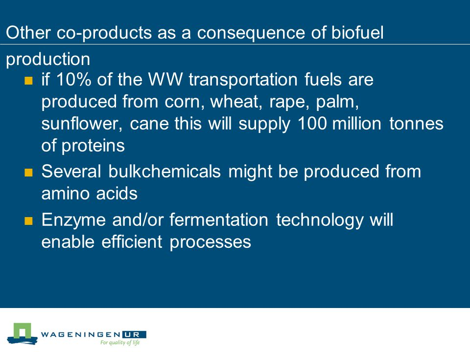 Other co-products as a consequence of biofuel production if 10% of the WW transportation fuels are produced from corn, wheat, rape, palm, sunflower, c