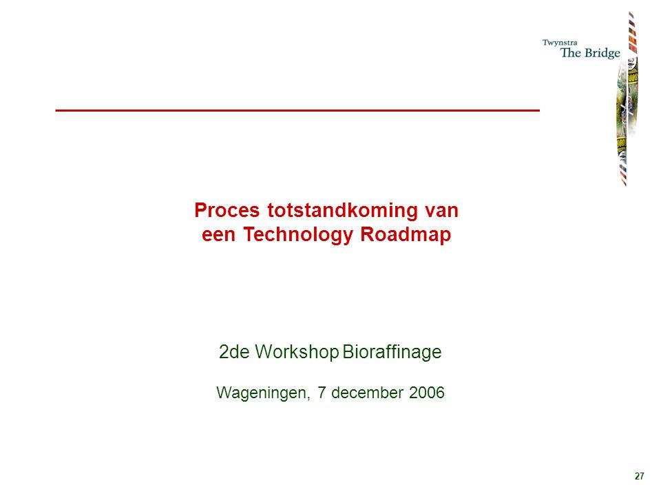 27 Proces totstandkoming van een Technology Roadmap 2de Workshop Bioraffinage Wageningen, 7 december 2006