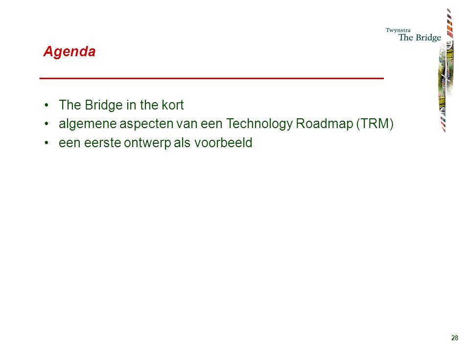 28 Agenda The Bridge in the kort algemene aspecten van een Technology Roadmap (TRM) een eerste ontwerp als voorbeeld