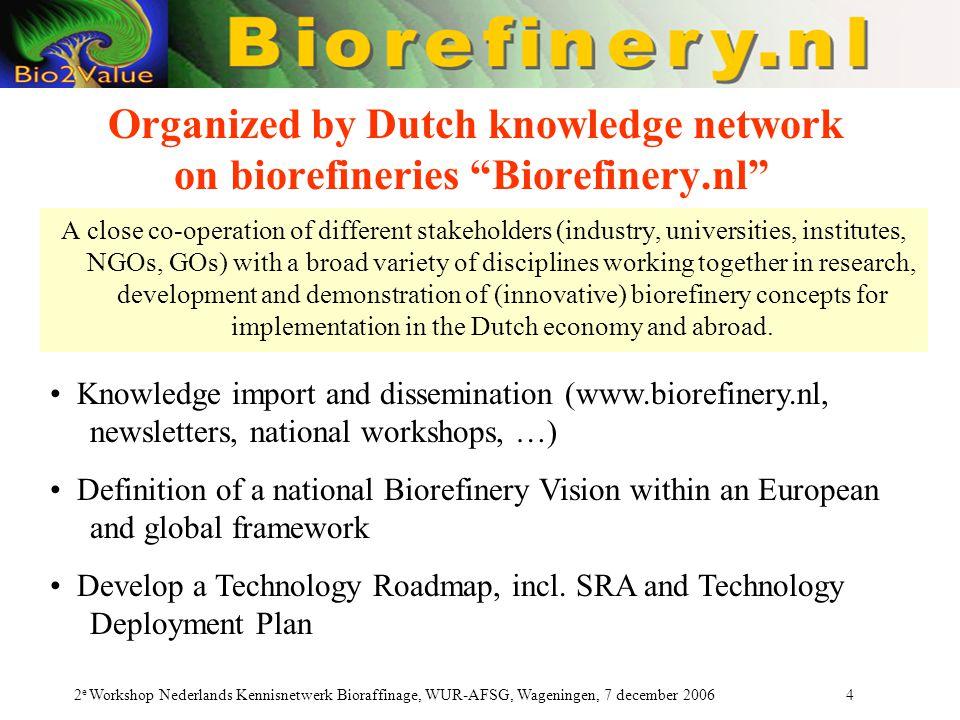 """2 e Workshop Nederlands Kennisnetwerk Bioraffinage, WUR-AFSG, Wageningen, 7 december 2006 4 Organized by Dutch knowledge network on biorefineries """"Bio"""