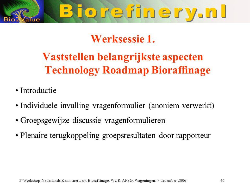 2 e Workshop Nederlands Kennisnetwerk Bioraffinage, WUR-AFSG, Wageningen, 7 december 2006 46 Werksessie 1.