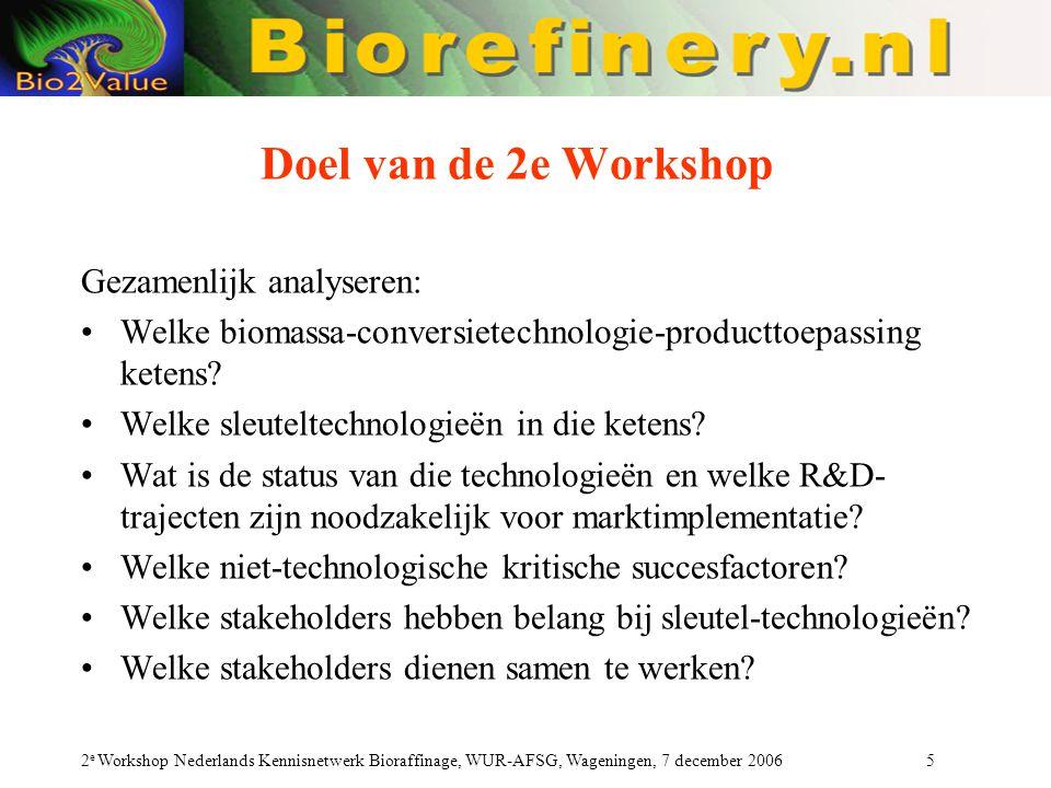 2 e Workshop Nederlands Kennisnetwerk Bioraffinage, WUR-AFSG, Wageningen, 7 december 2006 5 Doel van de 2e Workshop Gezamenlijk analyseren: Welke biomassa-conversietechnologie-producttoepassing ketens.