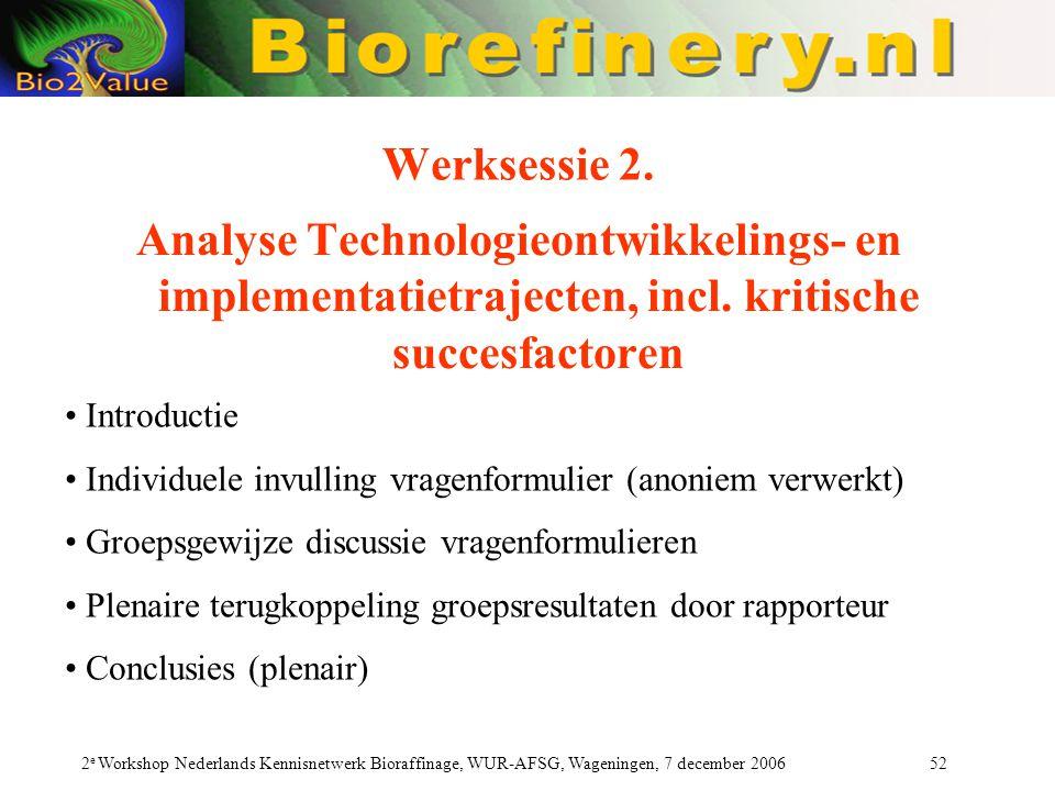 2 e Workshop Nederlands Kennisnetwerk Bioraffinage, WUR-AFSG, Wageningen, 7 december 2006 52 Werksessie 2. Analyse Technologieontwikkelings- en implem
