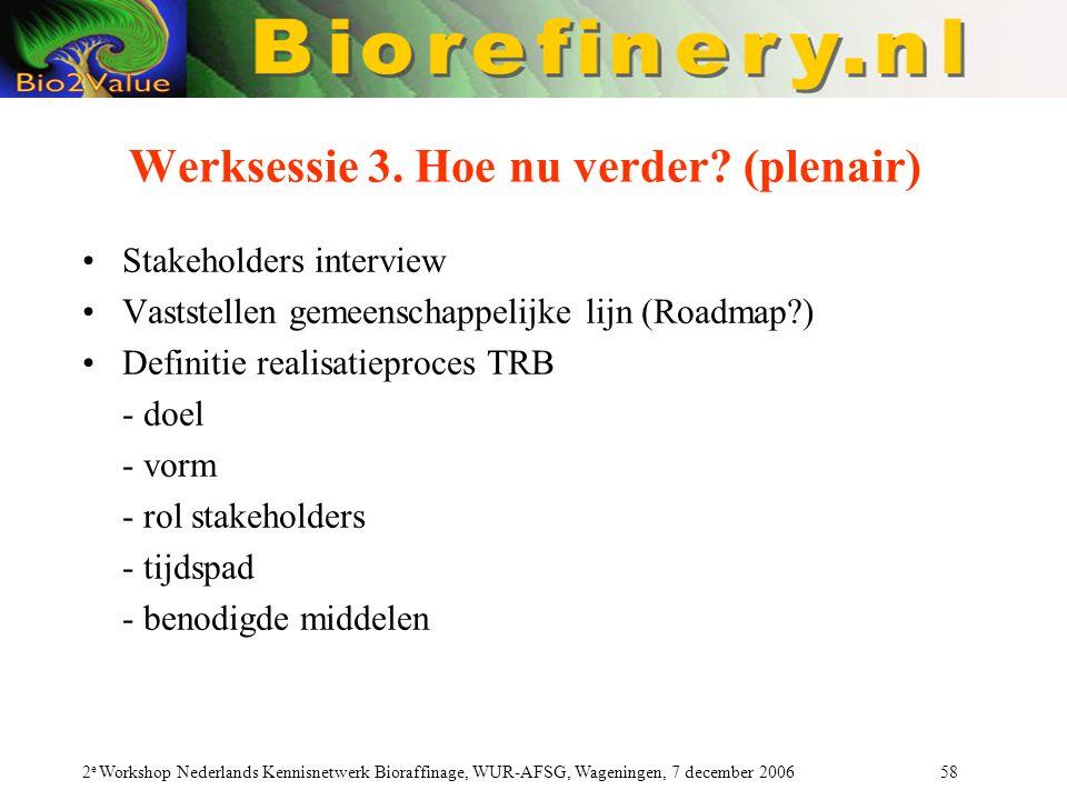 2 e Workshop Nederlands Kennisnetwerk Bioraffinage, WUR-AFSG, Wageningen, 7 december 2006 58 Werksessie 3. Hoe nu verder? (plenair) Stakeholders inter