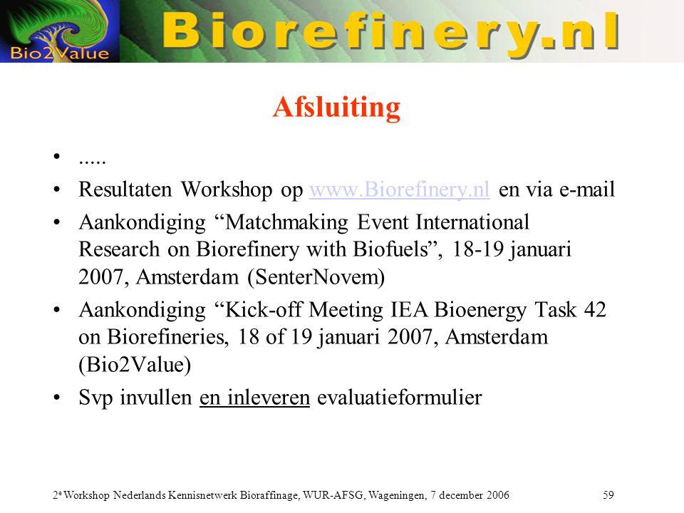 2 e Workshop Nederlands Kennisnetwerk Bioraffinage, WUR-AFSG, Wageningen, 7 december 2006 59 Afsluiting..... Resultaten Workshop op www.Biorefinery.nl