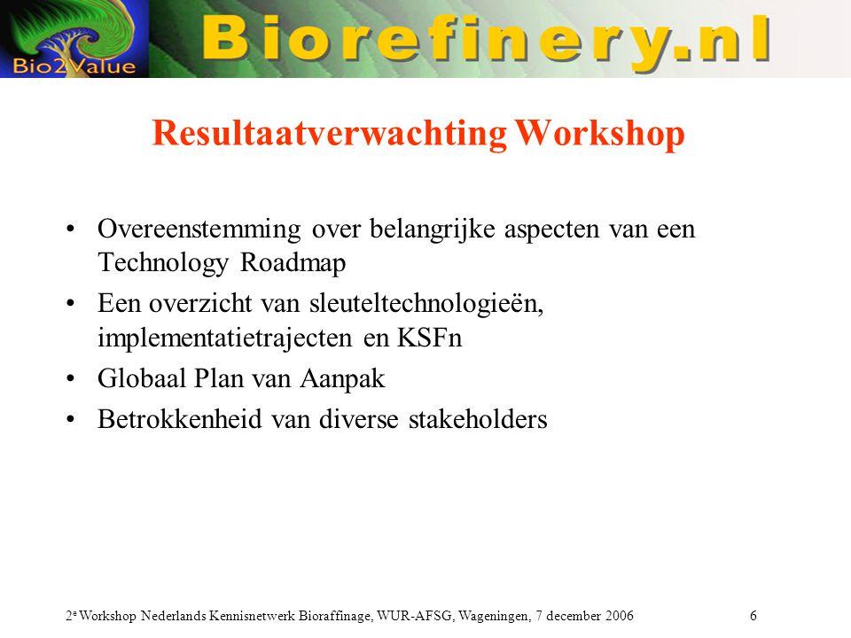 2 e Workshop Nederlands Kennisnetwerk Bioraffinage, WUR-AFSG, Wageningen, 7 december 2006 6 Resultaatverwachting Workshop Overeenstemming over belangrijke aspecten van een Technology Roadmap Een overzicht van sleuteltechnologieën, implementatietrajecten en KSFn Globaal Plan van Aanpak Betrokkenheid van diverse stakeholders