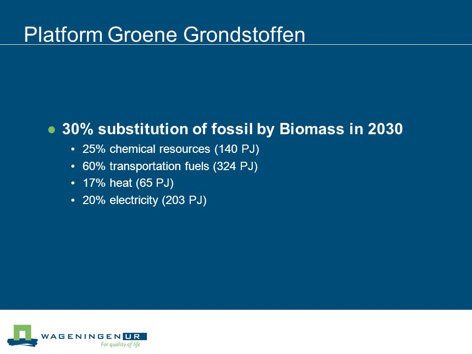30% Dutch fossil substitution by biomass in 2030 = 900 PJ Import (%)50*75010055/36 *** Land requirement (kha/PJ)09(2)**53 Absolute land requirement (kha)02300(300)12503550 * No additional import ** no land required *** additional import chemicals oil fermentation/ethanol electricity/heat/synth.