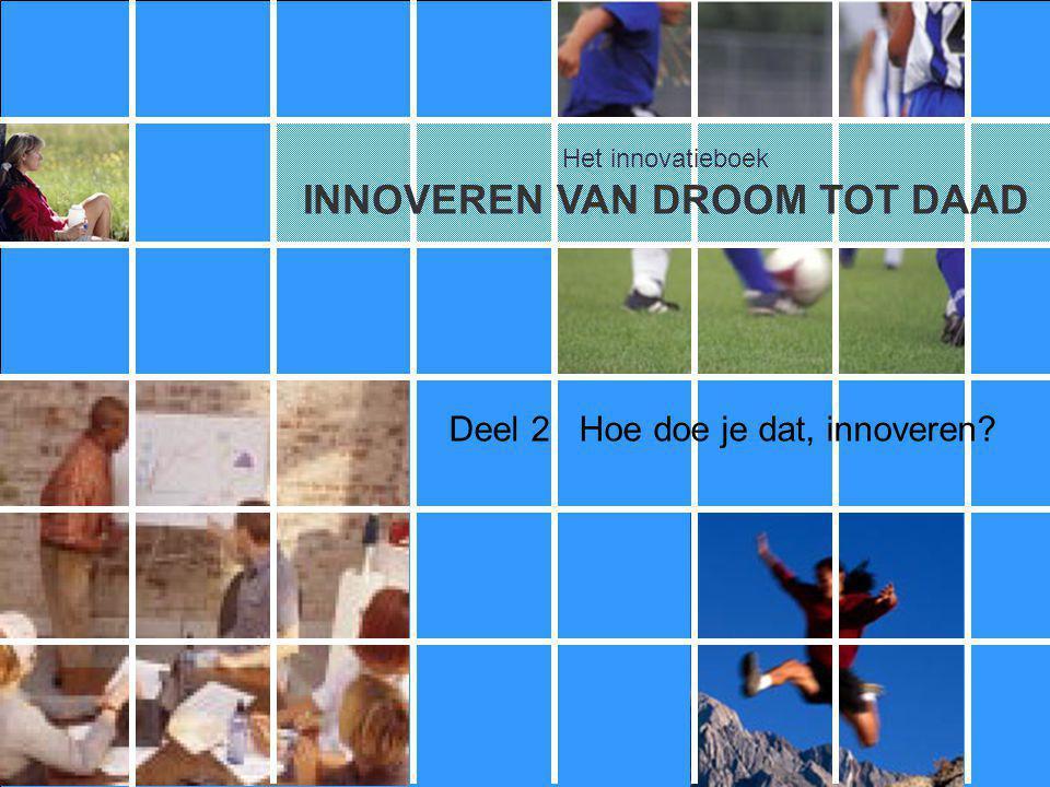 Het innovatieboek 2.1Het innovatieproces 2.2Dromen 2.3Denken 2.4Durven 2.5Doen Deel 2.