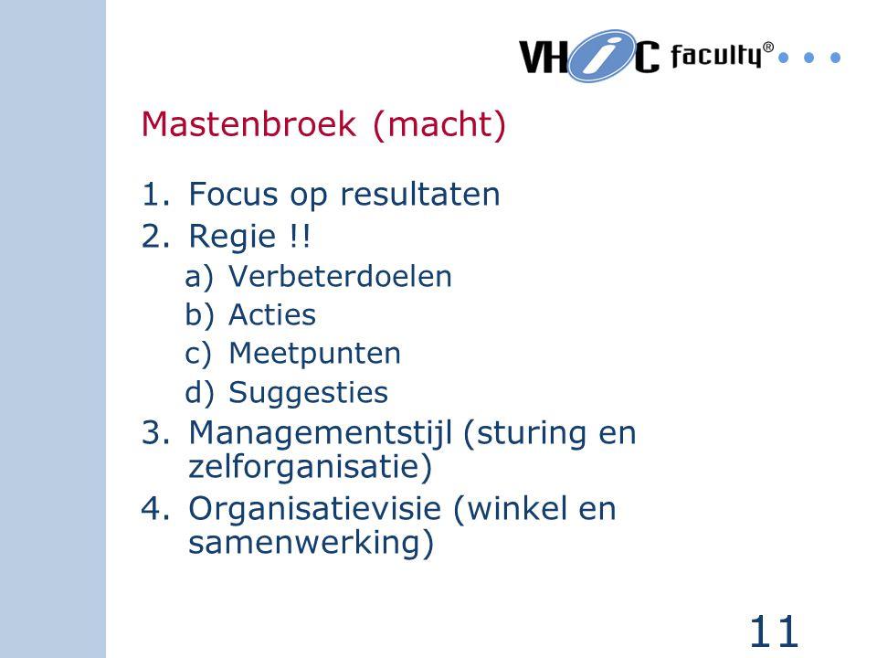 11 Mastenbroek (macht) 1.Focus op resultaten 2.Regie !! a)Verbeterdoelen b)Acties c)Meetpunten d)Suggesties 3.Managementstijl (sturing en zelforganisa