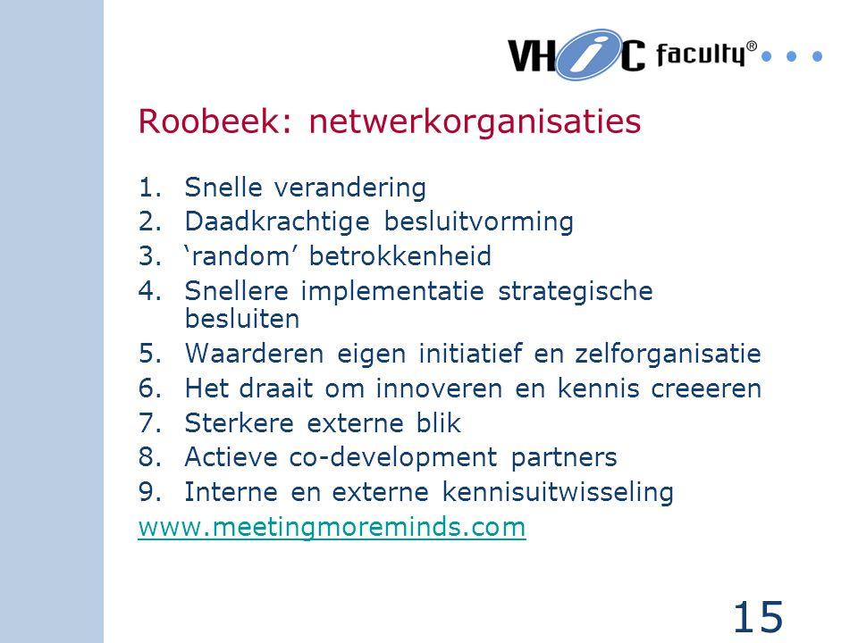 15 Roobeek: netwerkorganisaties 1.Snelle verandering 2.Daadkrachtige besluitvorming 3.'random' betrokkenheid 4.Snellere implementatie strategische bes