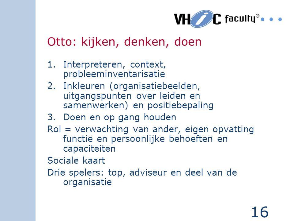 16 Otto: kijken, denken, doen 1.Interpreteren, context, probleeminventarisatie 2.Inkleuren (organisatiebeelden, uitgangspunten over leiden en samenwer