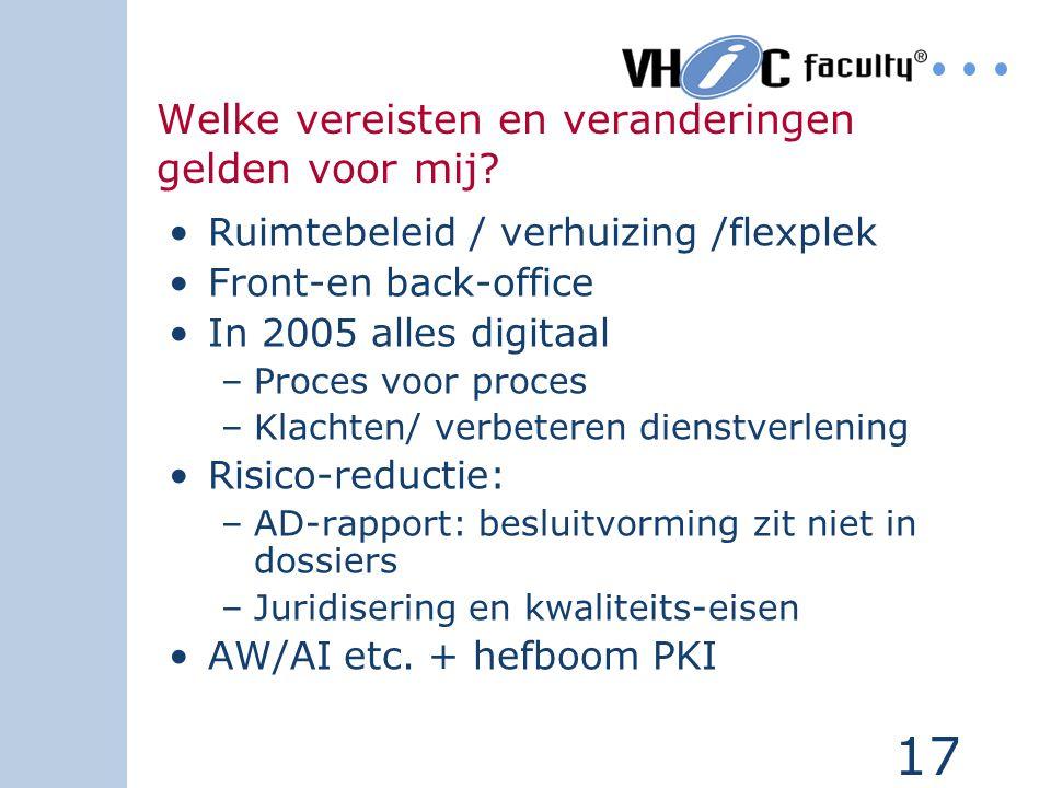 17 Welke vereisten en veranderingen gelden voor mij? Ruimtebeleid / verhuizing /flexplek Front-en back-office In 2005 alles digitaal –Proces voor proc