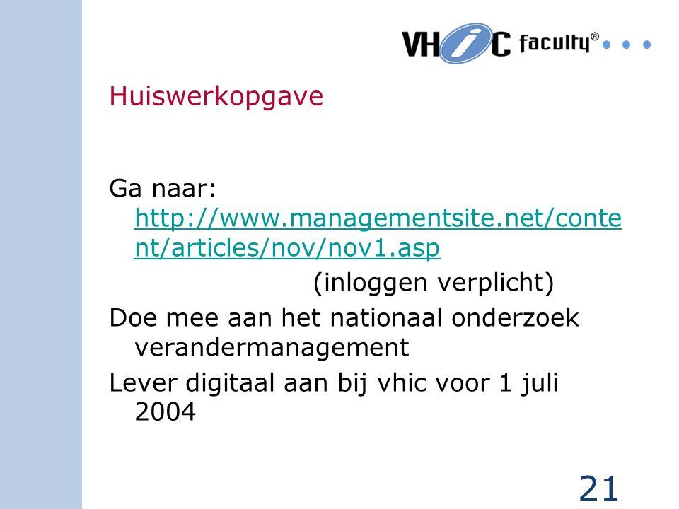 21 Huiswerkopgave Ga naar: http://www.managementsite.net/conte nt/articles/nov/nov1.asp http://www.managementsite.net/conte nt/articles/nov/nov1.asp (